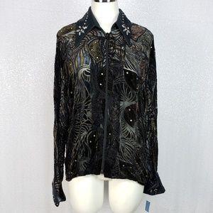 Authentic Ranchwear Jeweled Zipper Blouse XXL